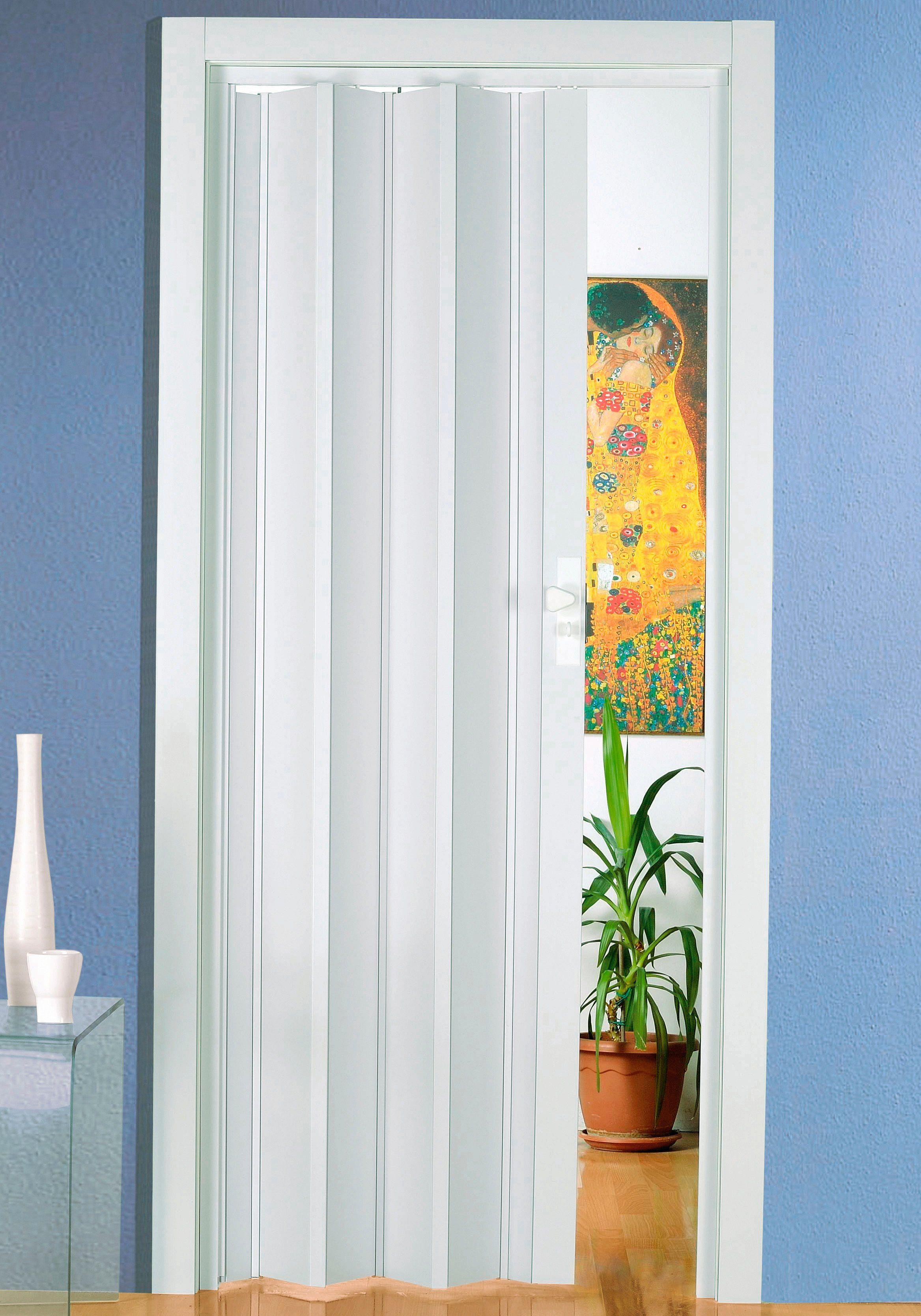 Kunststoff-Falttür »Luciana« Höhe nach Maß, weiß-pastellfarben (ohne Fenster)