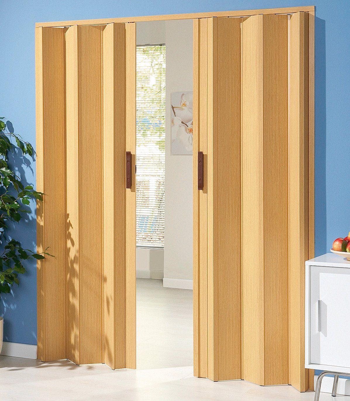 Kunststoff-Falttür »Luciana«, BxH: 88,5x202 cm, Eichefarben hell ohne Fenster