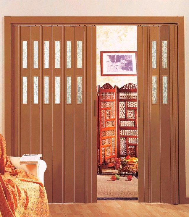 Kunststoff-Falttür »Luciana« Höhe nach Maß, buchefarben (mit Fenster) in buchefarben
