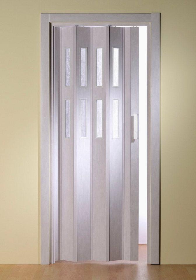 Kunststoff-Falttür »Luciana«, eschefarben-weiß, mit Fenstern in Riffelstruktur in eschefarben-weiß