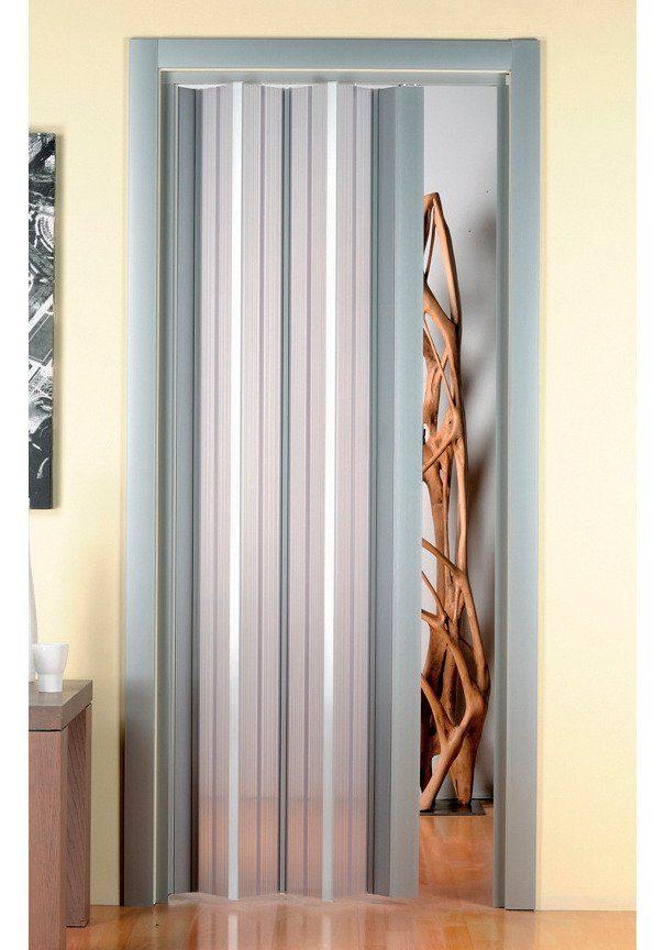 Kunststoff-Falttür »Luciana«, BxH: 88,5x202 cm, Transparentt-aluminium ohne Fenster