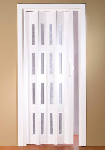 kunststoff faltt r luciana bxh 88 5x202 cm wei mit fenstern in riffenstruktur online. Black Bedroom Furniture Sets. Home Design Ideas