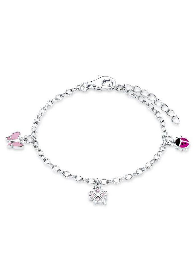 Armkette, »Schmetterling, Kleeblatt, Marienkäfer, PLFS/50«, Prinzessin Lillifee in Silber 925/rosa