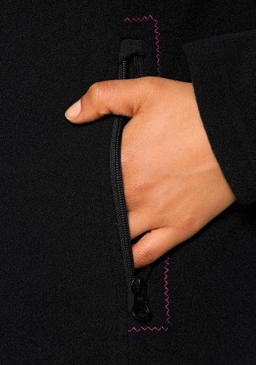 H.I.S Fleecejacke, Zierstickerei um Reißverschlusstasche