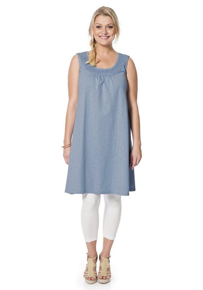 sheego Casual Shirtkleid mit Smok-Einsatz in blau