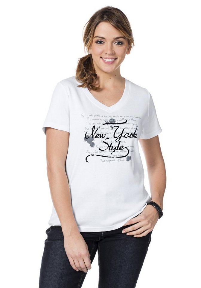 sheego Casual T-Shirt mit Frontprint in weiß