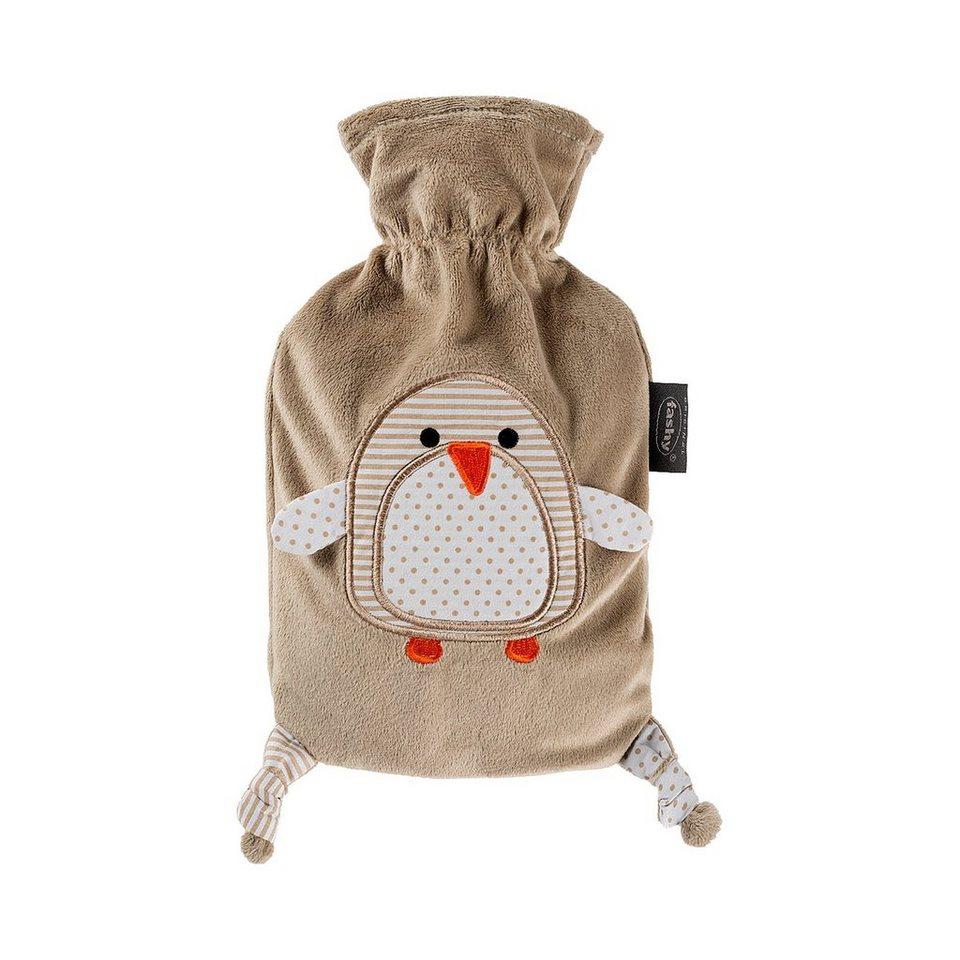 FASHY Wärmflasche mit Flauschbezug Pinguin in braun
