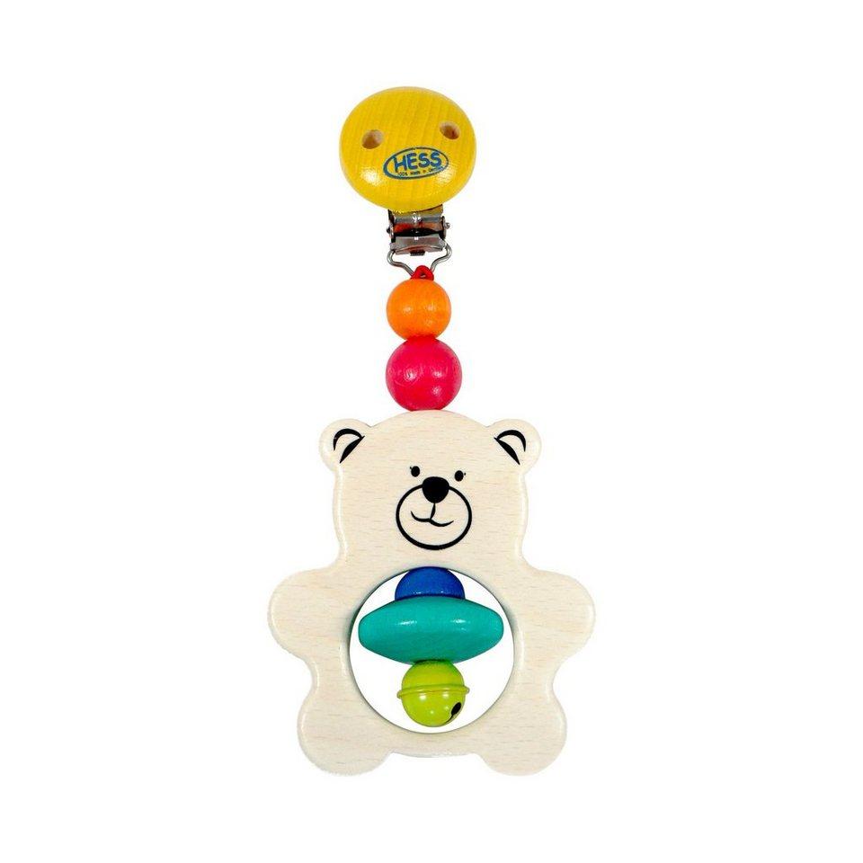HESS SPIELZEUG Kinderwagenanhänger aus Holz Teddy in mehrfarbig