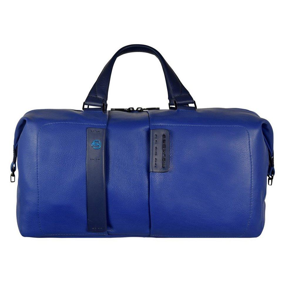 Piquadro Pulse Reisetasche Weekender Leder 43 cm in electric blue