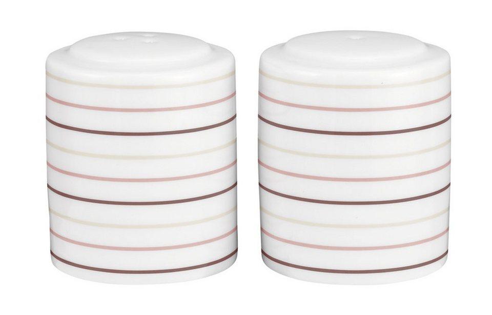 Seltmann Weiden Garnitur Salz und Pfeffer »No Limits Cream Lines« in Weiß, Creme