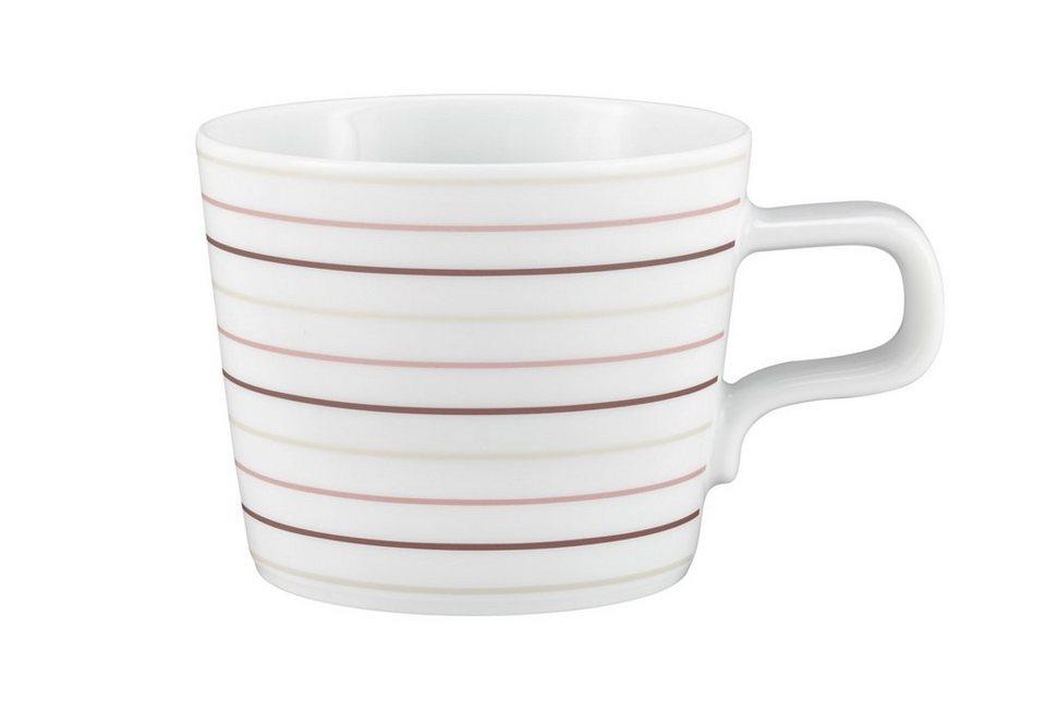Seltmann Weiden Kaffeetasse »No Limits Cream Lines« in Weiß, Creme