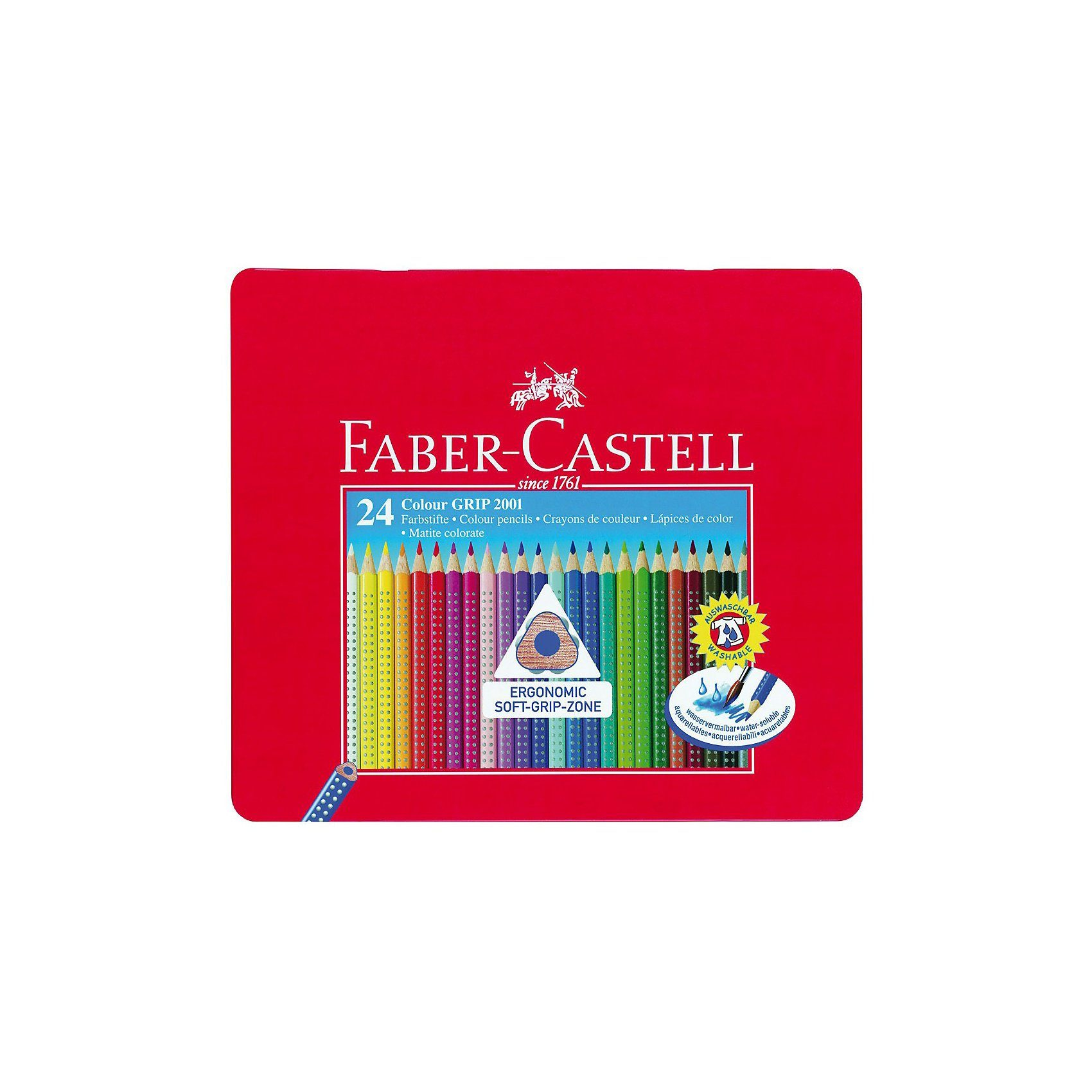 Faber-Castell COLOUR GRIP Buntstifte wasservermalbar, 24 Farben, Metalletu