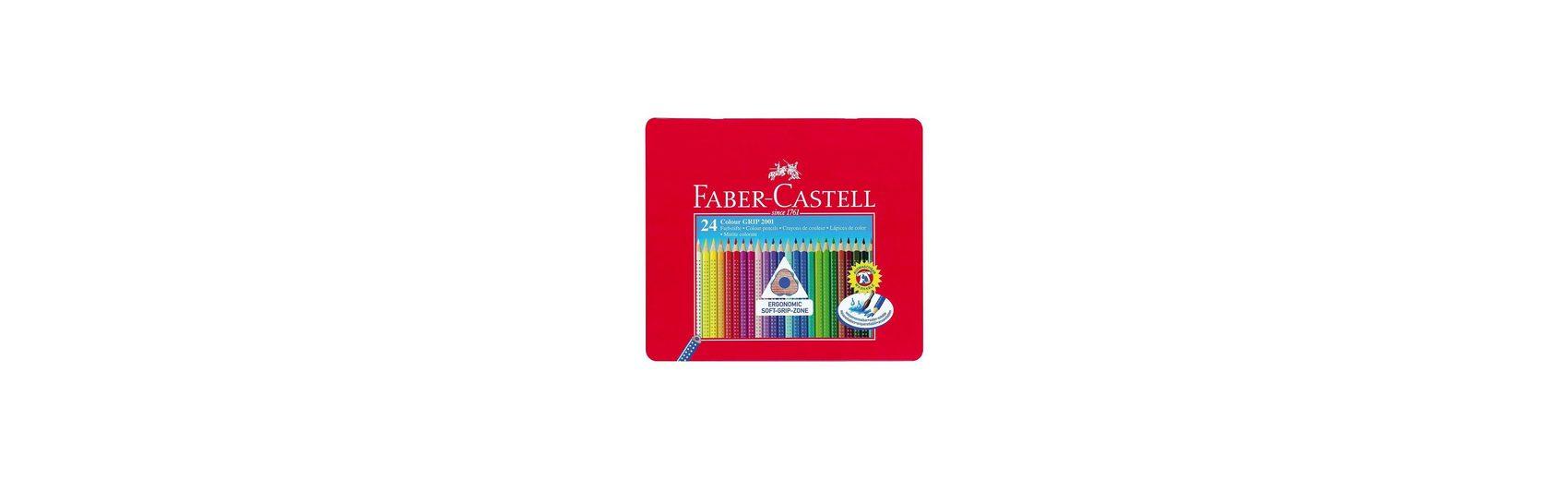 Faber-Castell COLOUR GRIP Farbstifte wasservermalbar, 24 Farben, Metalletu