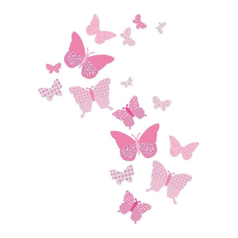 FunToSee Wandsticker Schmetterlinge, rosa, 16-tlg. in rosa