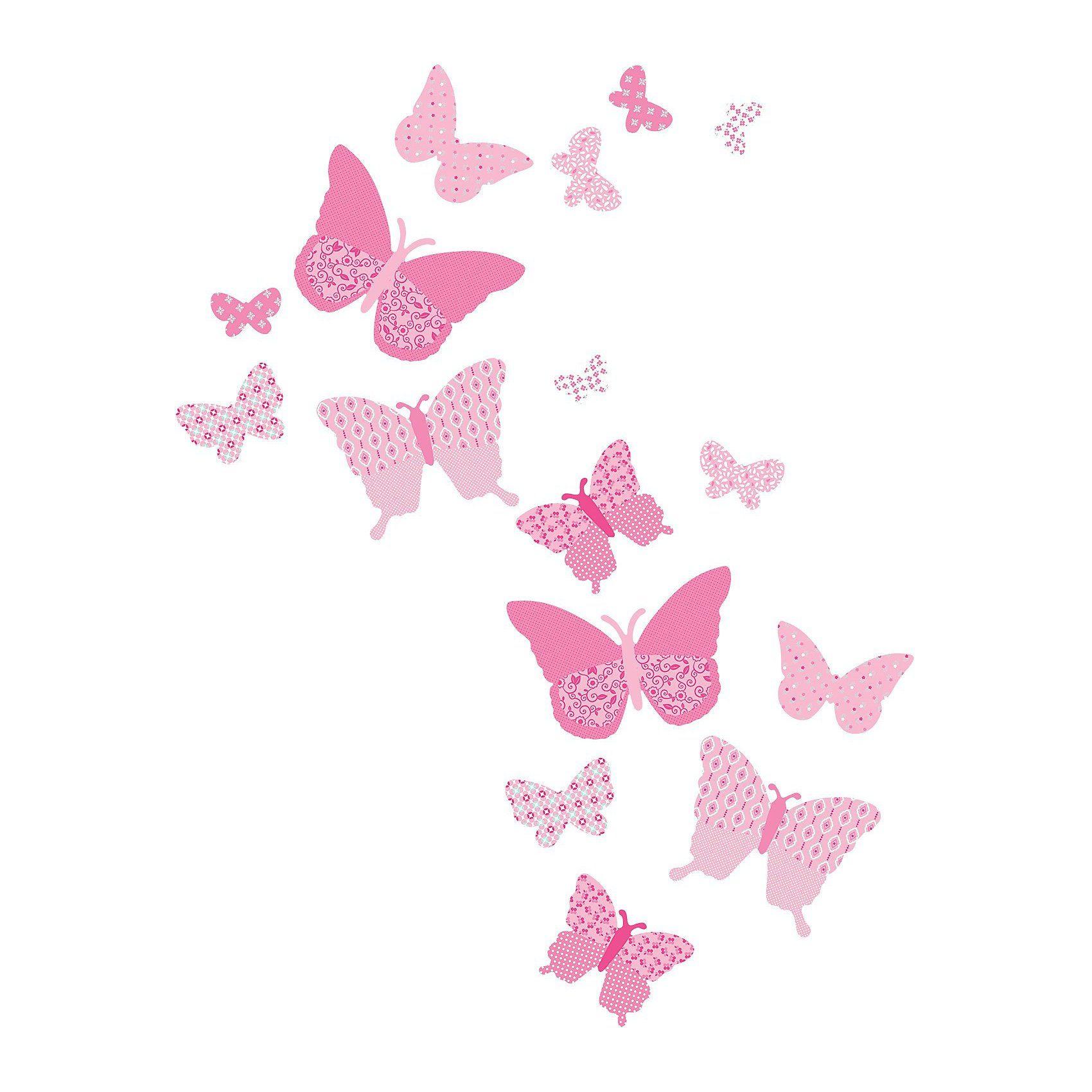 FunToSee Wandsticker Schmetterlinge, rosa, 16-tlg.