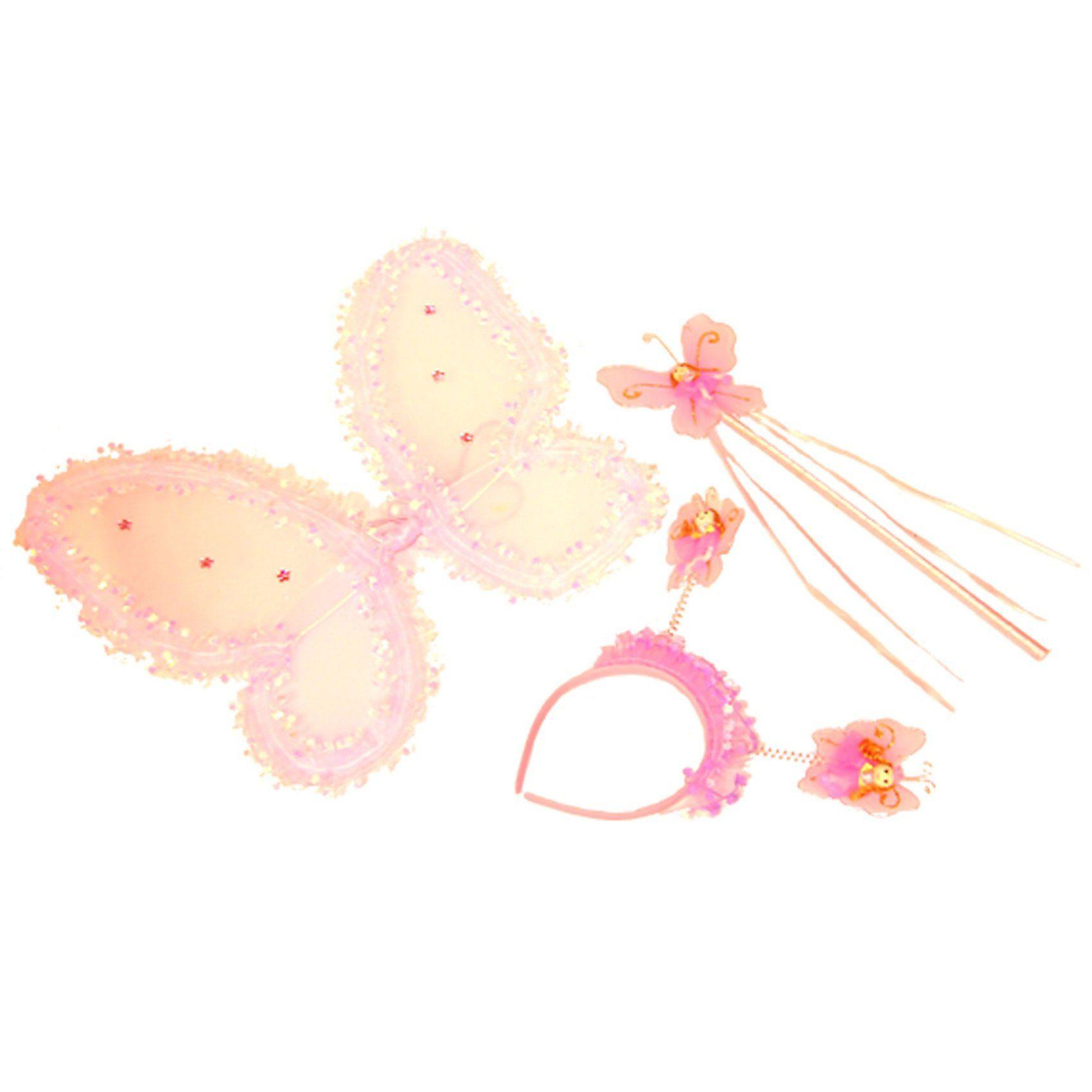 Funny Fashion Schmetterling-Set weiß pink
