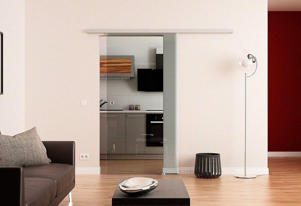 Glasschiebetür »Dorma Agile 50 Klar« mit Muschelgriff in weiß