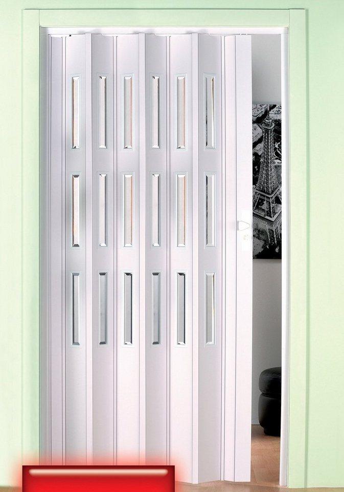 Kunststoff-Falttür, Höhe nach Maß, weiß (mit Molato Cristal Fenster) in weiß