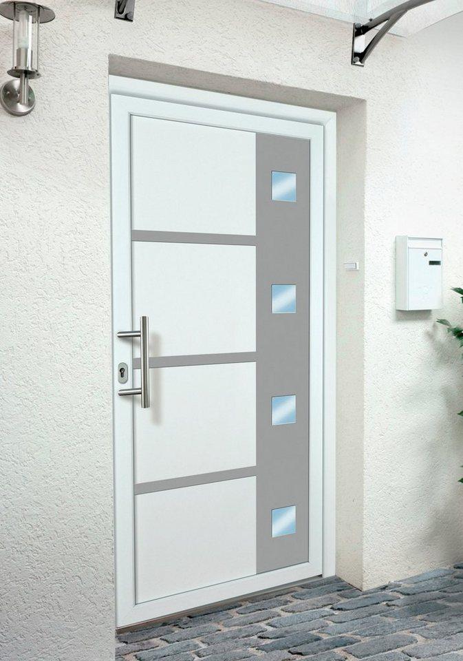 Kunststoff-Haustür BxH: 98 x 200 cm, weiß in weiß