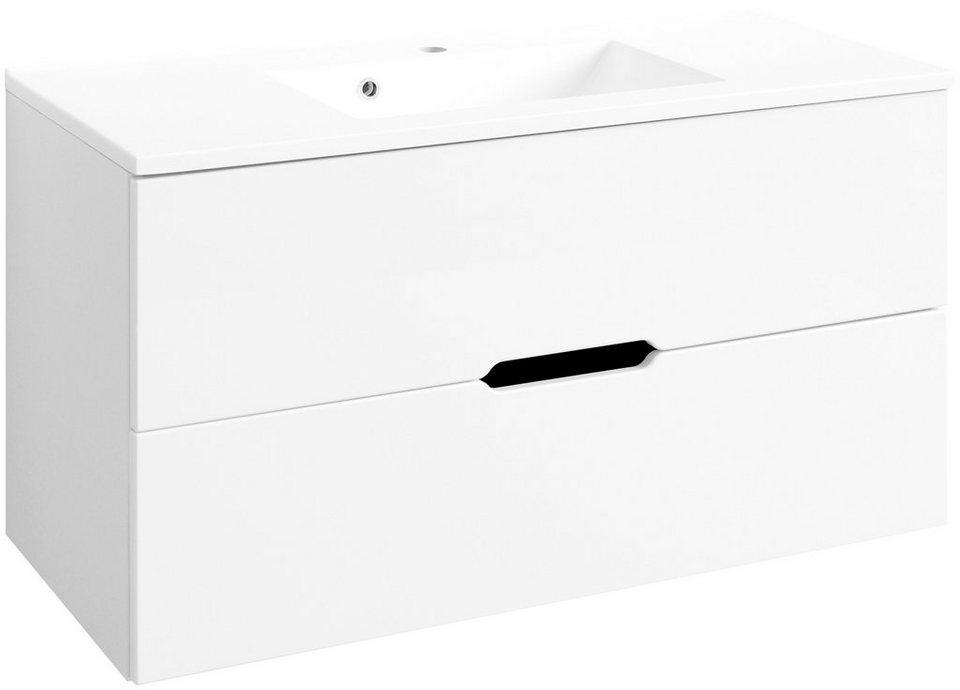 HELD MÖBEL Waschtisch »Belluno «, Breite 100 cm, (2-tlg.) in weiß