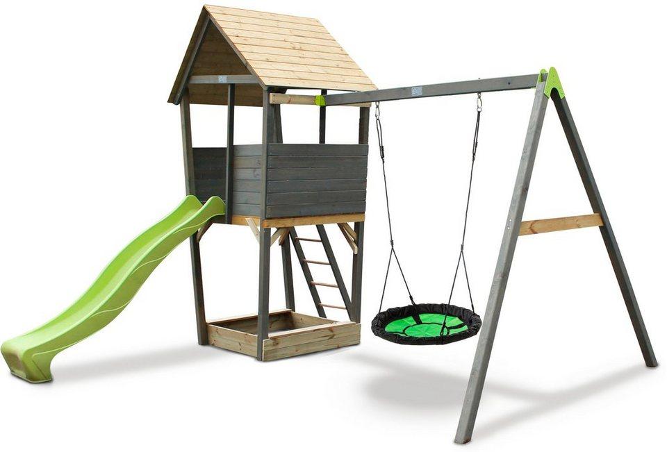 Spielturm »Aksent«, B/H/T: 320/296/323 cm, Nestschaukel + Rutsche