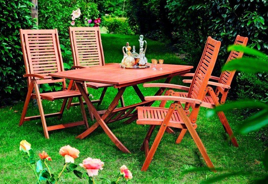 5-tgl. Gartenmöbelset »Cordoba«, 4 Sessel, Tisch 110-160 cm,Eukalyptus in braun