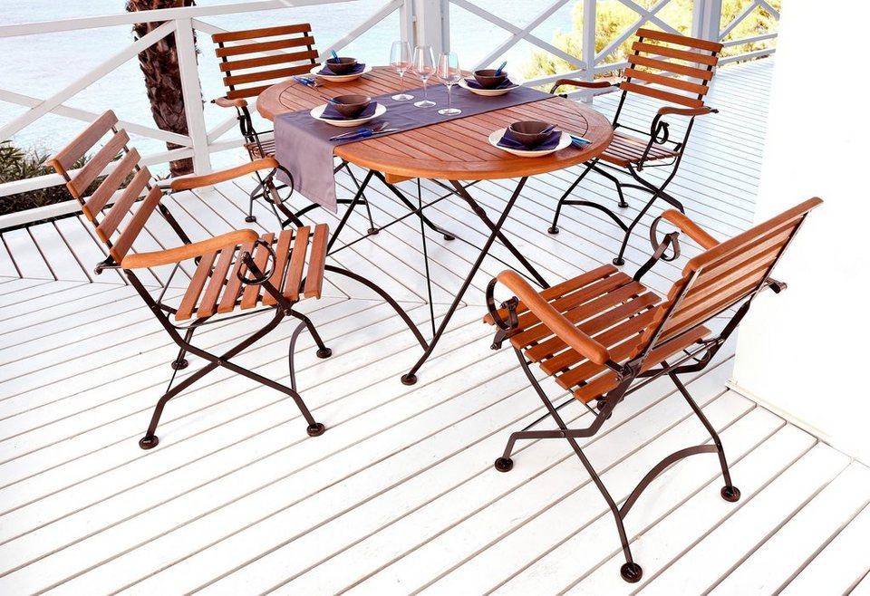 5-tgl. Gartenmöbelset »Schlossgarten«, 4 Sessel,ovaler Tisch, Stahl/Eukalyptusholz in braun