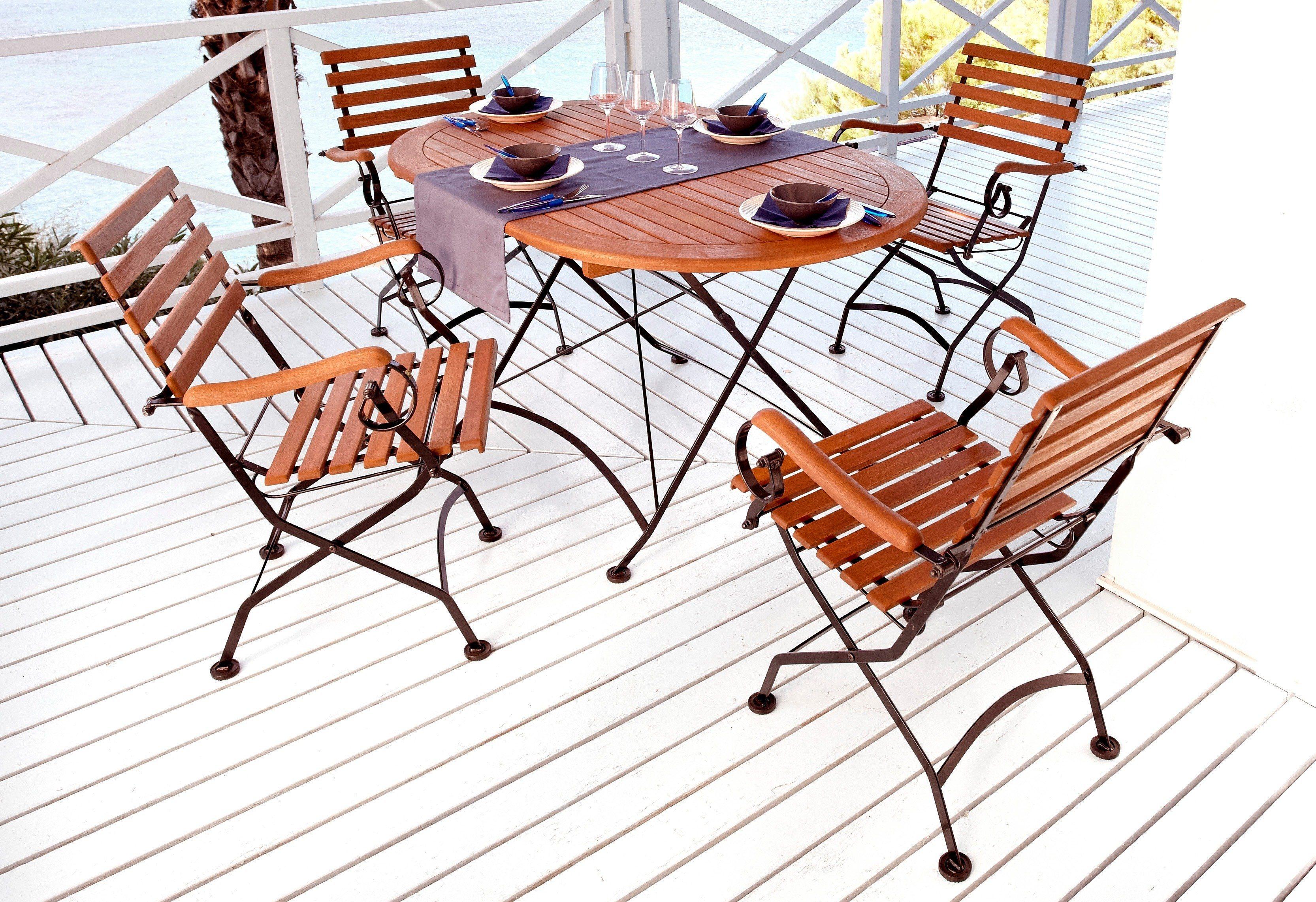 5-tgl. Gartenmöbelset »Schlossgarten«, 4 Sessel,ovaler Tisch, Stahl/Eukalyptusholz