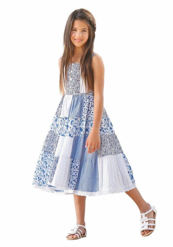 Arizona Trägerkleid in Patchworkoptik in blau-gemustert