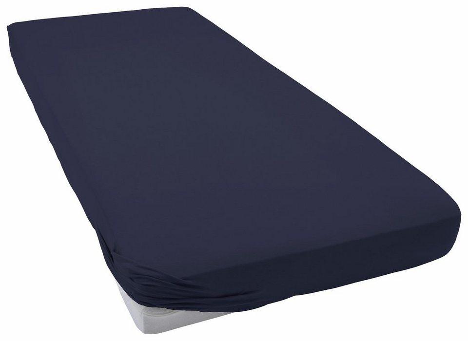 Spannbettlaken, Schlafgut, »Frottee-Stretch«, flauschig weich in marine