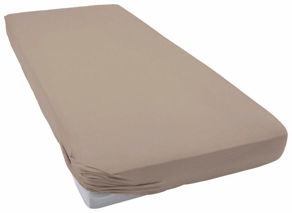 Spannbettlaken, Schlafgut, »Frottee-Stretch«, flauschig weich in taupe