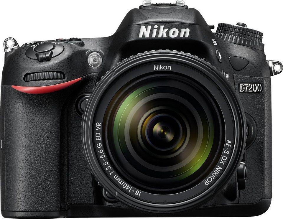Nikon D7200 KIT Spiegelreflex Kamera, NIKKOR AF-S 18-140 mm 1:3,5-5,6 G ED VR Zoom, 24,2 Megapixel in schwarz