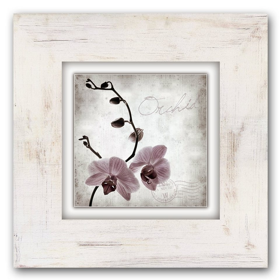 Holzbild, Home affaire, »Orchidee«, 40/40 cm in beige/rosa