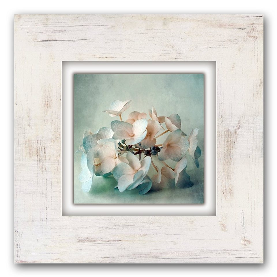 Holzbild, Home affaire, »Blume«, 40/40 cm in beige/hellblau