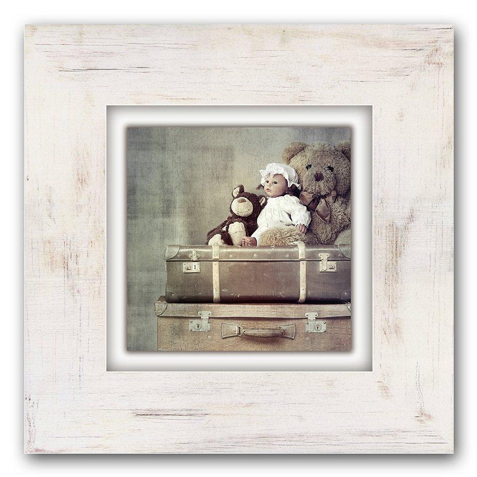 Holzbild, Home affaire, »Kuscheltiere auf Koffer«, 40/40 cm in beige/braun