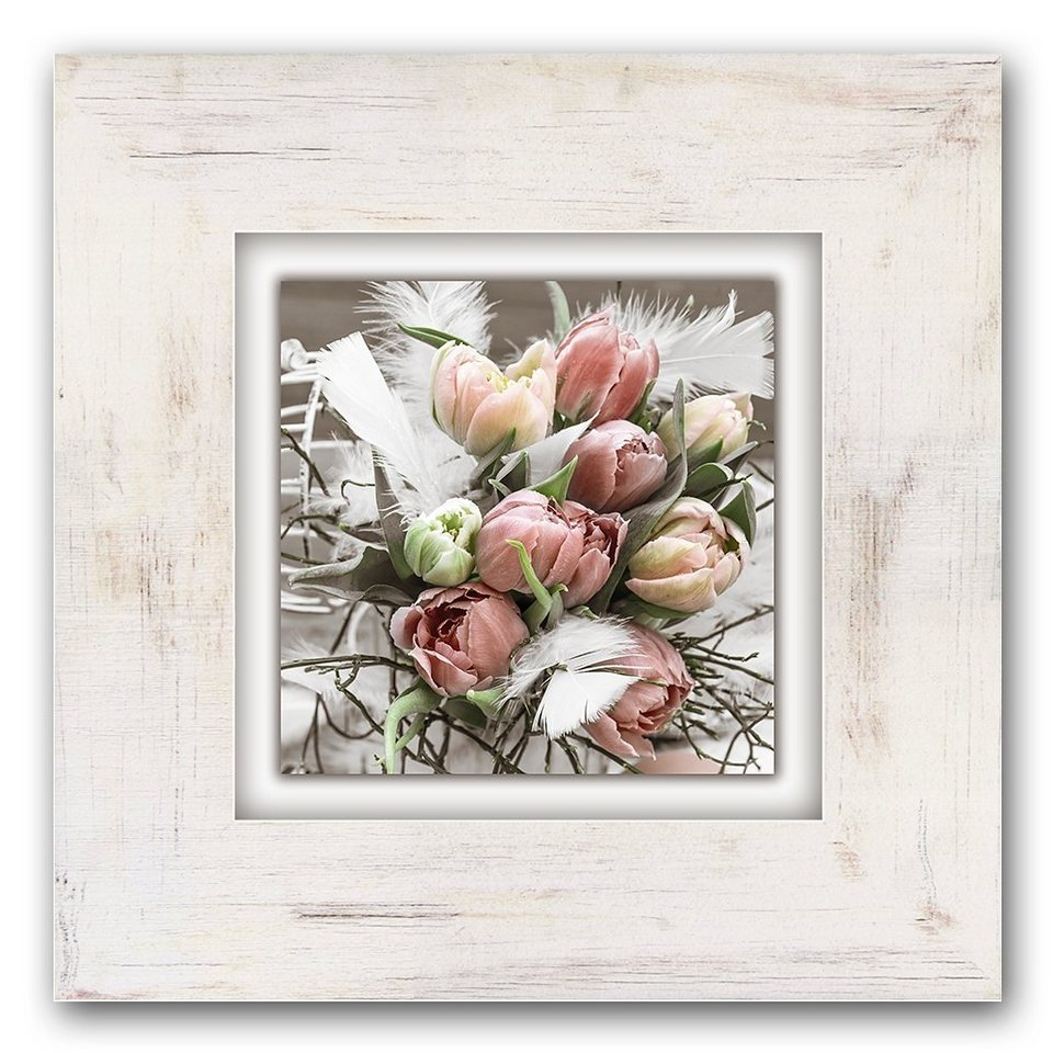 Holzbild, Home affaire, »Tulpenstrauß«, 40/40 cm in beige/rosa
