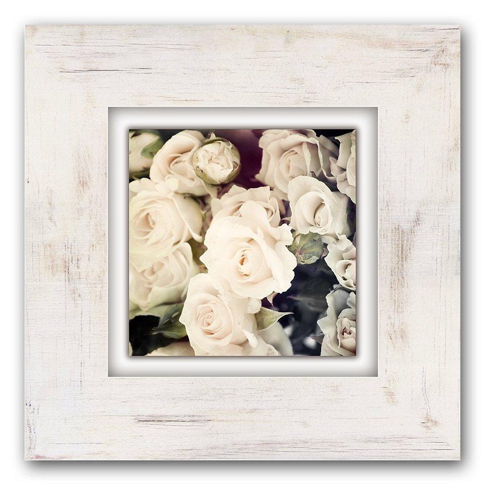 Holzbild, Home affaire, »Weiße Rosen«, 40/40 cm in beige/weiß