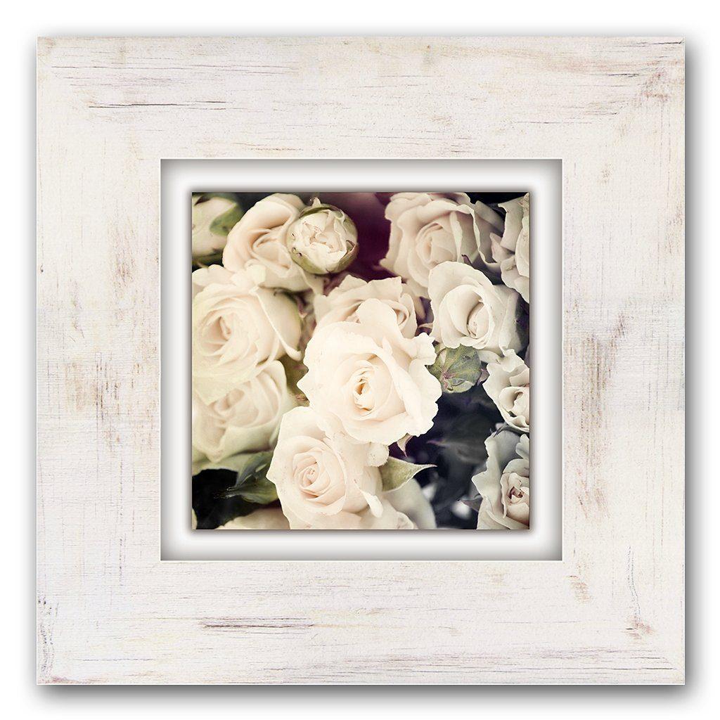 Home affaire Holzbild »Weiße Rosen«, 40/40 cm