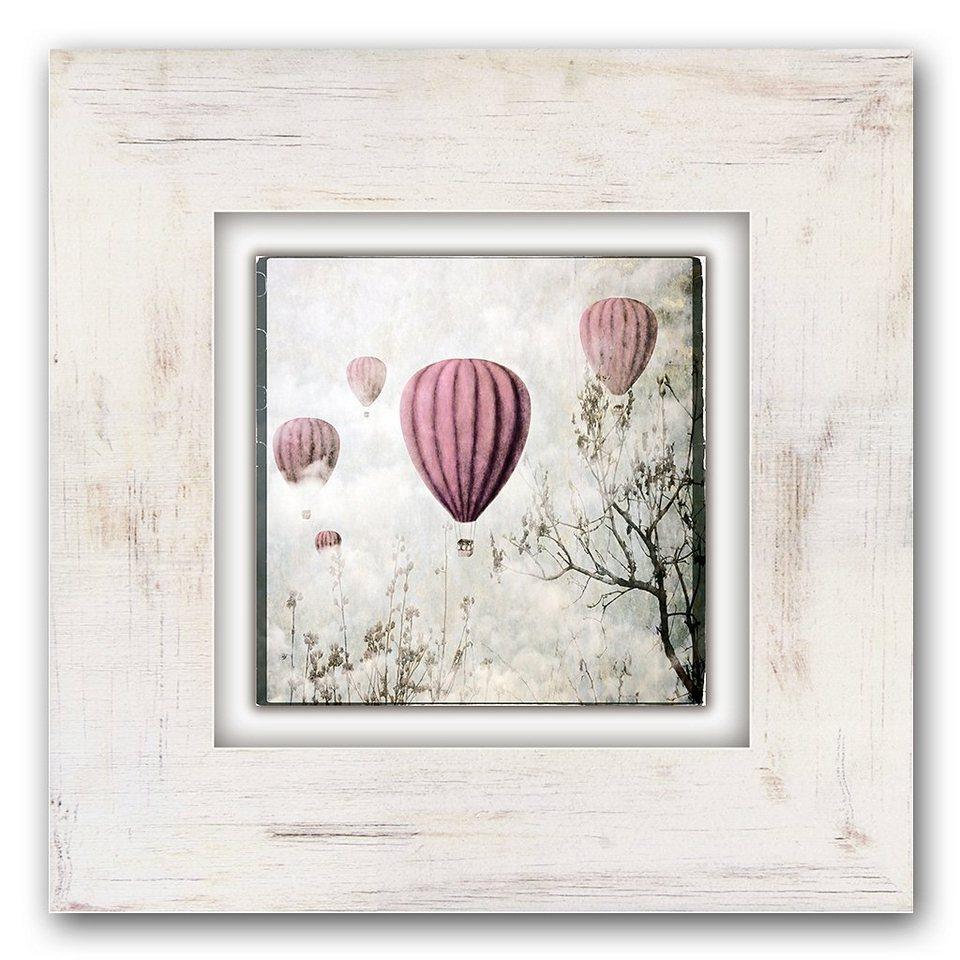 Holzbild, Home affaire, »Heißluftballons«, 40/40 cm in beige/rosa
