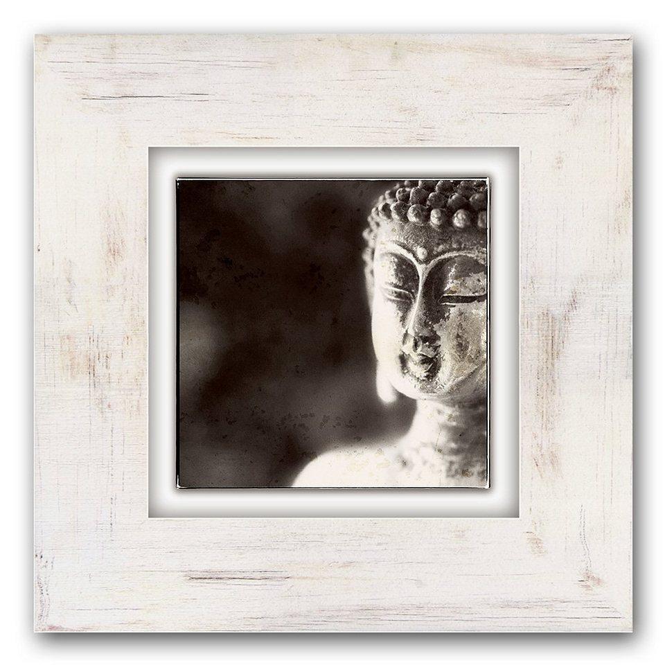 Holzbild, Home affaire, »Buddhakopf«, 40/40 cm in beige/grau