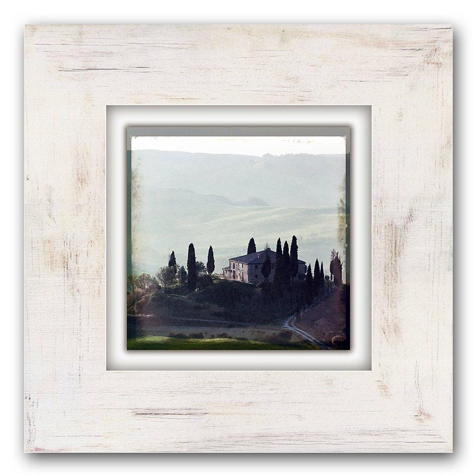 Holzbild, Home affaire, »Landschaft mit Haus«, 40/40 cm in beige/braun