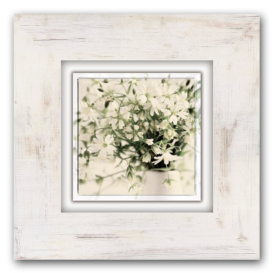 Holzbild, Home affaire, »Blütenstrauß«, 40/40 cm in weiß/grün