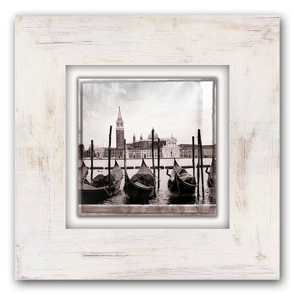 Holzbild, Home affaire, »Gondeln in Venedig«, 40/40 cm in beige/grau