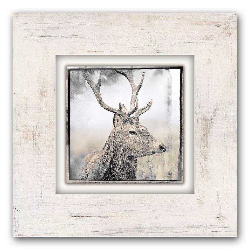 Holzbild, Home affaire, »Hirschkopf«, 40/40 cm in beige