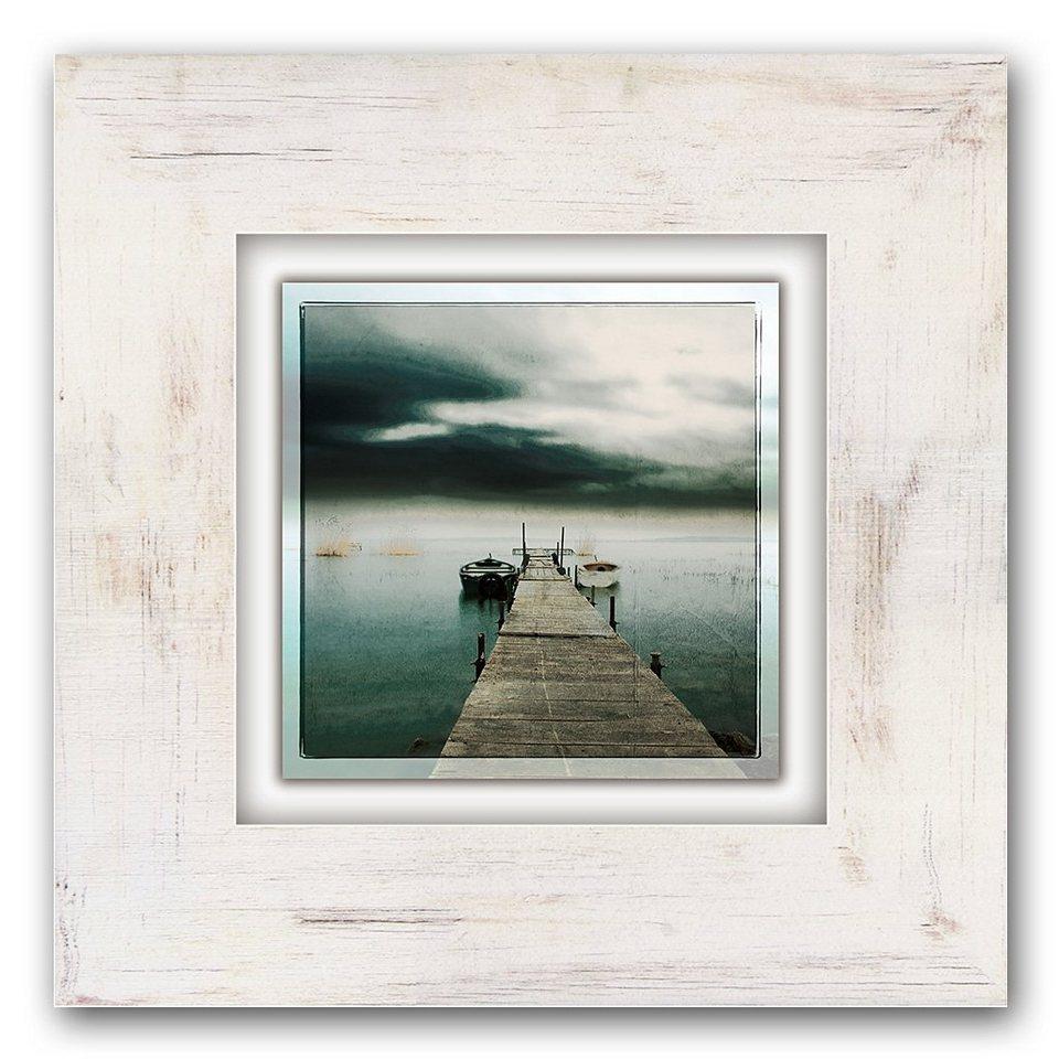 Holzbild, Home affaire, »Steg mit Booten«, 40/40 cm in beige/grau