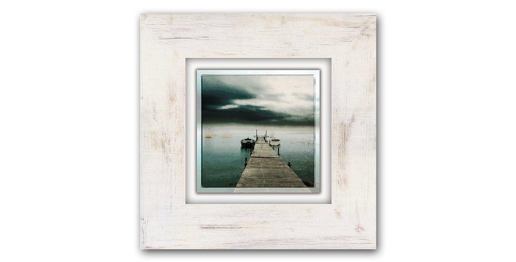 Holzbild, Home affaire, »Steg mit Booten«, 40/40 cm