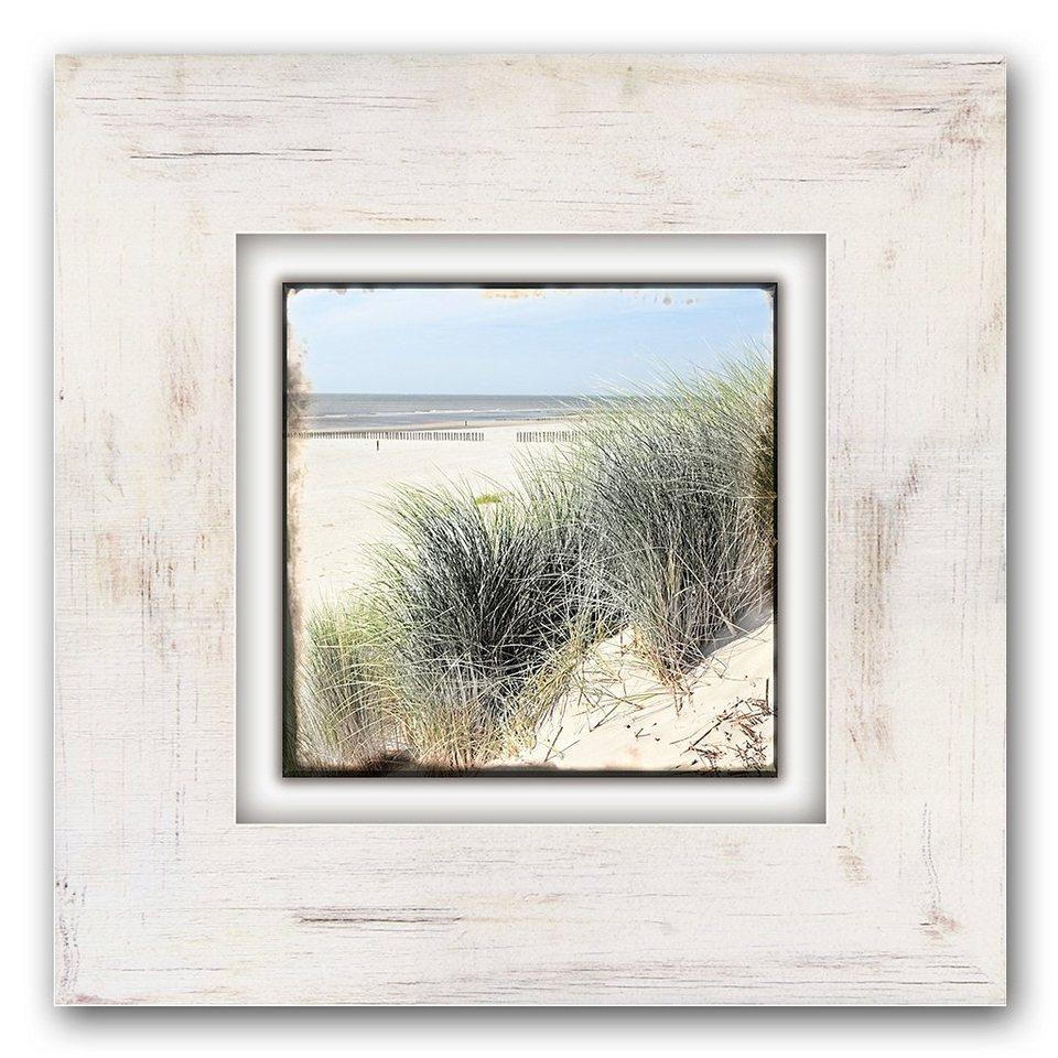 Holzbild, Home affaire, »Strand mit Gräsern«, 40/40 cm in beige/grün