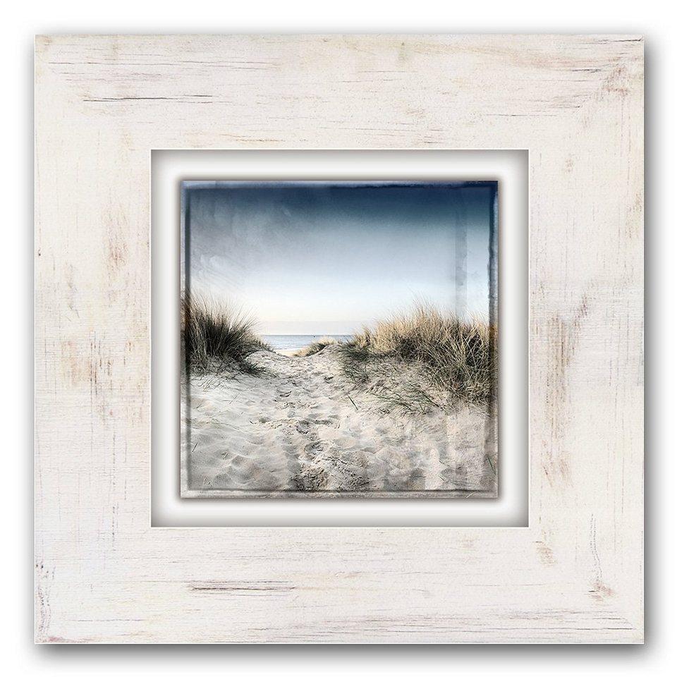 Holzbild, Home affaire, »Sand und Himmel«, 40/40 cm in beige/blau