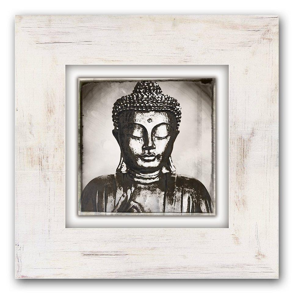 Holzbild, Home affaire, »Glänzender Buddhakopf«, 40/40 cm in beige/grau