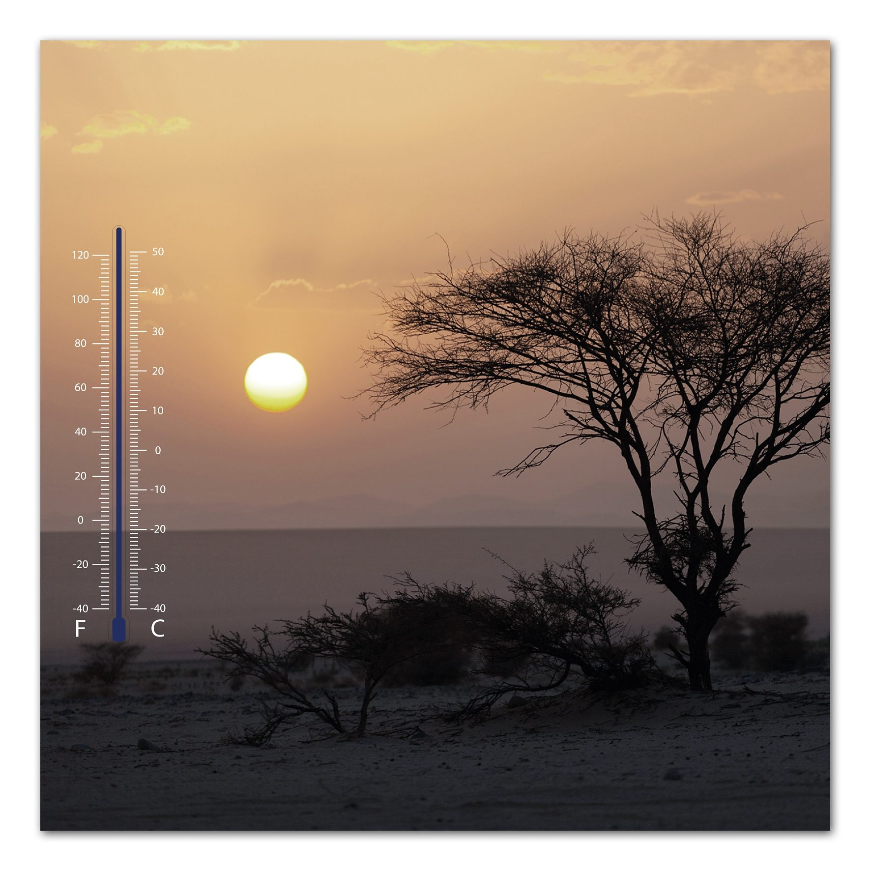 Thermometer Bild, Home affaire, »Meer bei Sonnenuntergang«, 30/30 cm